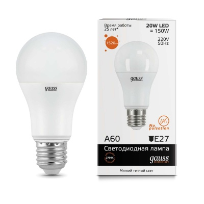 Лампа Gauss LED Elementary A60 20W E27 теплый свет 3000K