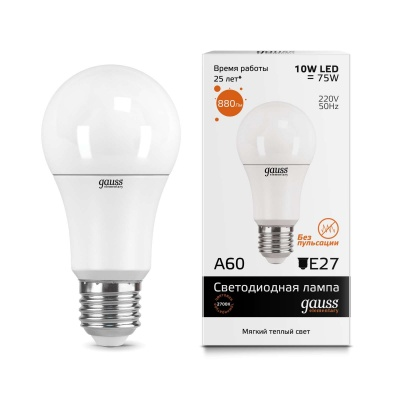 Лампа Gauss LED Elementary A60 10W E27 теплый свет 3000K