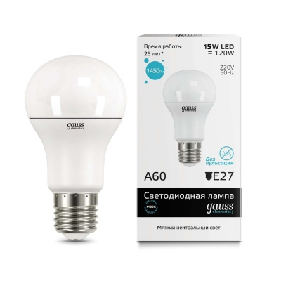 Лампа Gauss LED Elementary A60 15W E27 холодный свет4100K