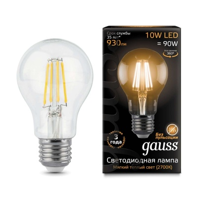 Лампа Gauss LED Filament A60 E27 10W теплый свет 2700К